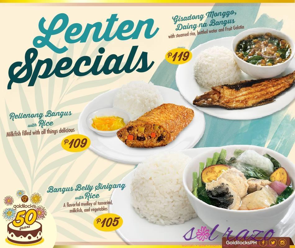 Goldilocks Lenten Specials