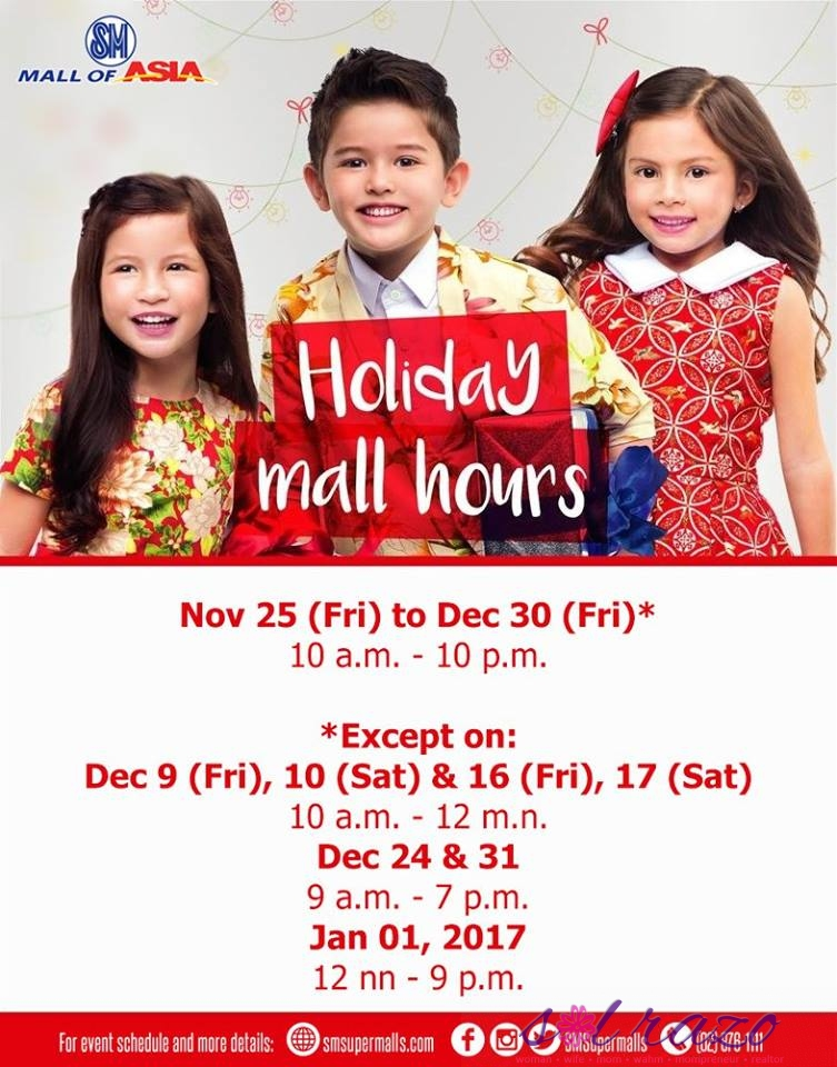 sm mall holiday hours
