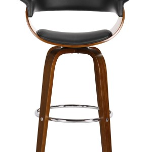 Taburete MUNICH, 4 patas, giratorio, madera nogal, similpiel negra