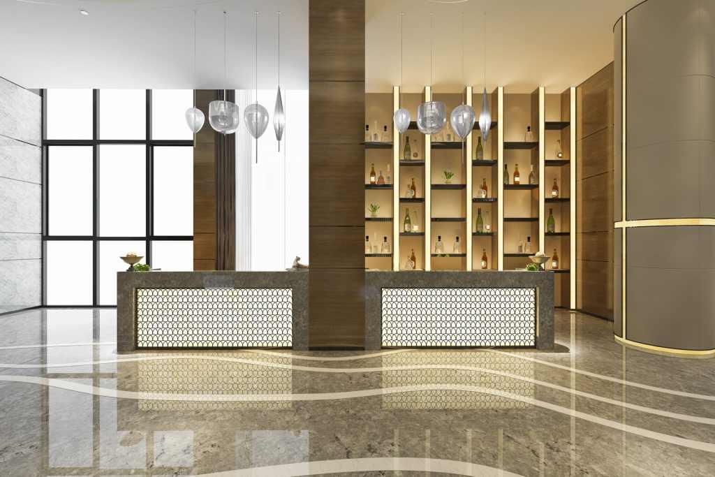 crear un lobby cálido de hotel