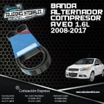 BANDA ALTERNADOR COMPRESOR AVEO 1.6L 2008-2017