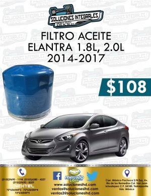 FILTRO ACEITE ELANTRA 1.8L-2.0L 2014-2017