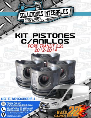 KIT PISTONES CON ANILLOS FORD TRANSIT 2.2L 2012-2014