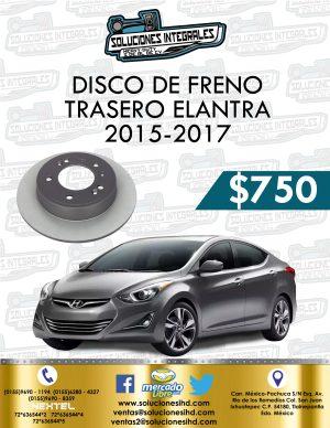 DISCO FRENO TRASERO ELANTRA 1.8L 2015-2017