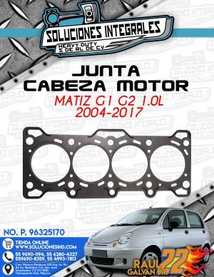JUNTA CABEZA MOTOR MATIZ G1-G2 1.0L 2006-2017
