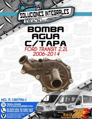 BOMBA AGUA CON TAPA FORD TRANSIT 2.2L 2006-2014
