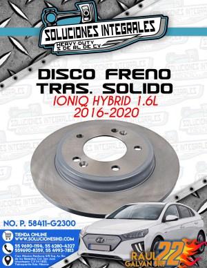 DISCO FRENO TRASERO SOLIDO IONIQ HYBRID 1.6L 2016-2020