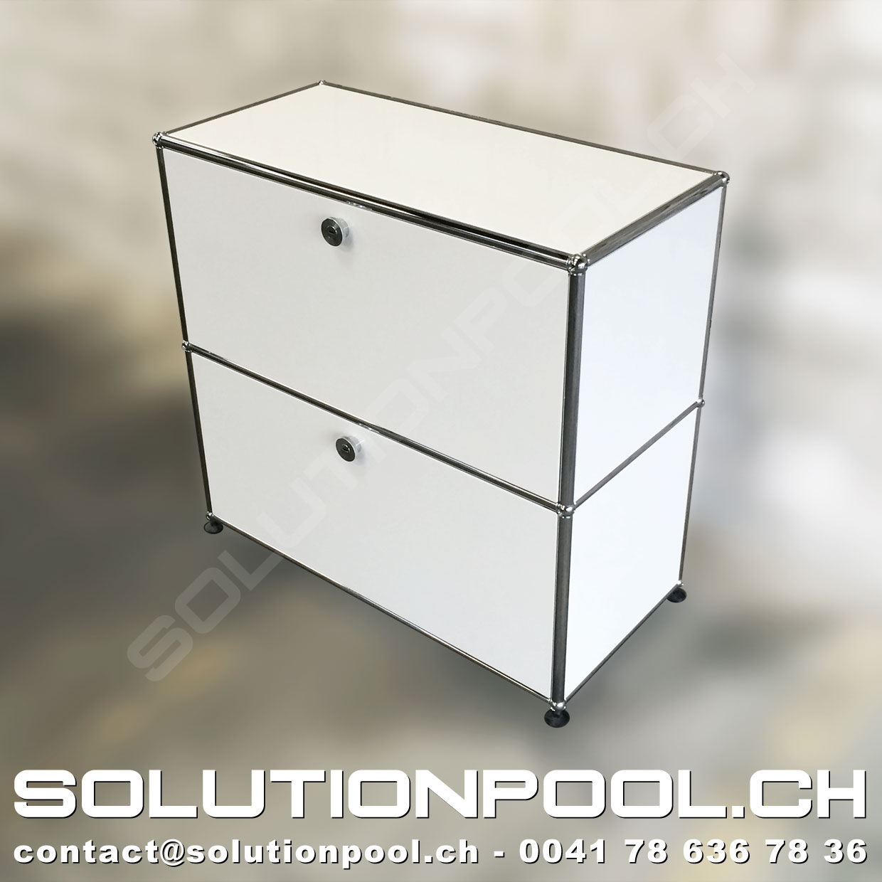 usm highboard weiss solutionpool first class second hand for home and office. Black Bedroom Furniture Sets. Home Design Ideas