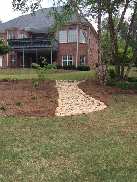 dry creek bed stone step construction