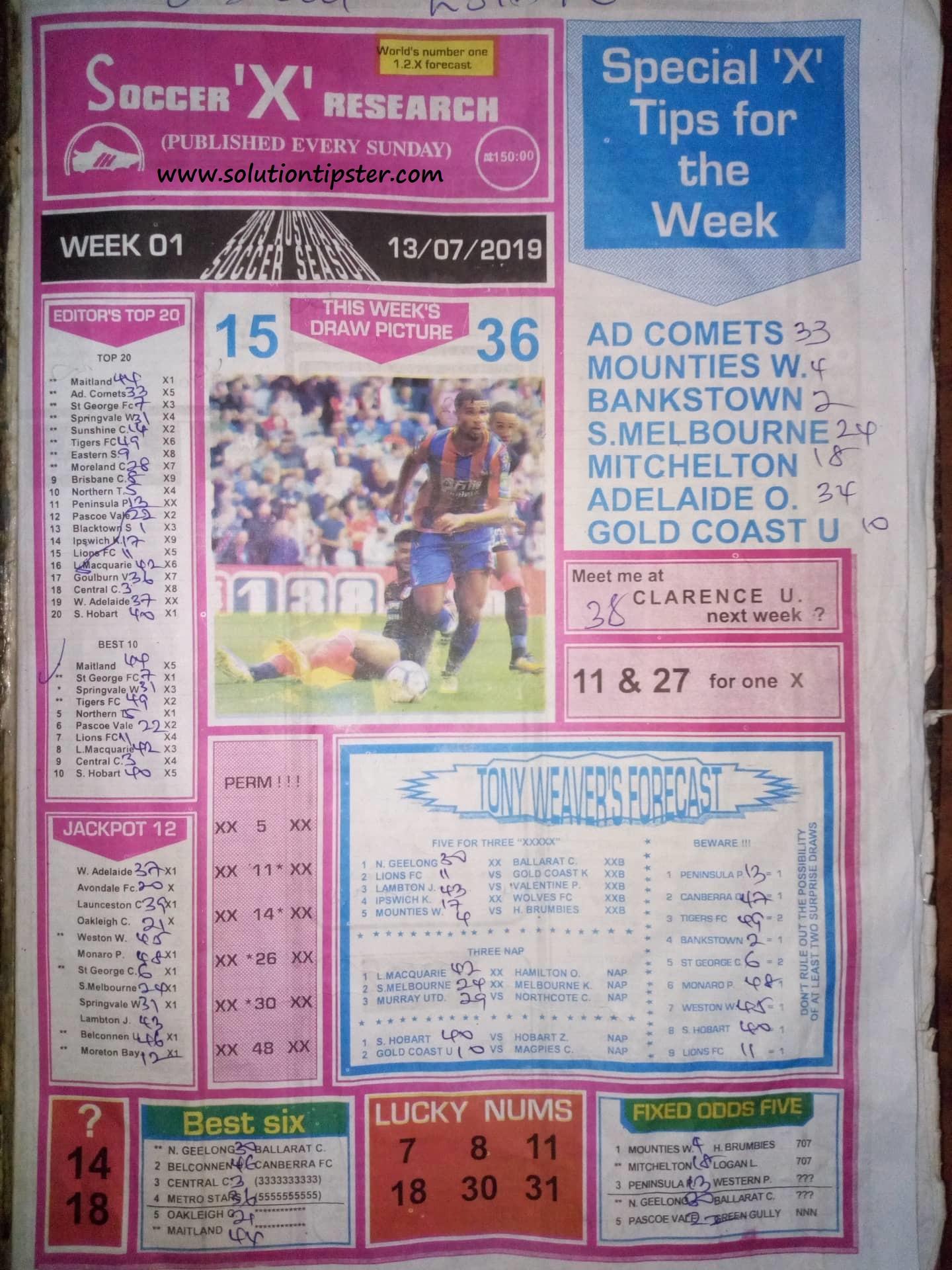 Week 01 Pools RSK Papers 2019: Soccer, Bob Morton, Capital