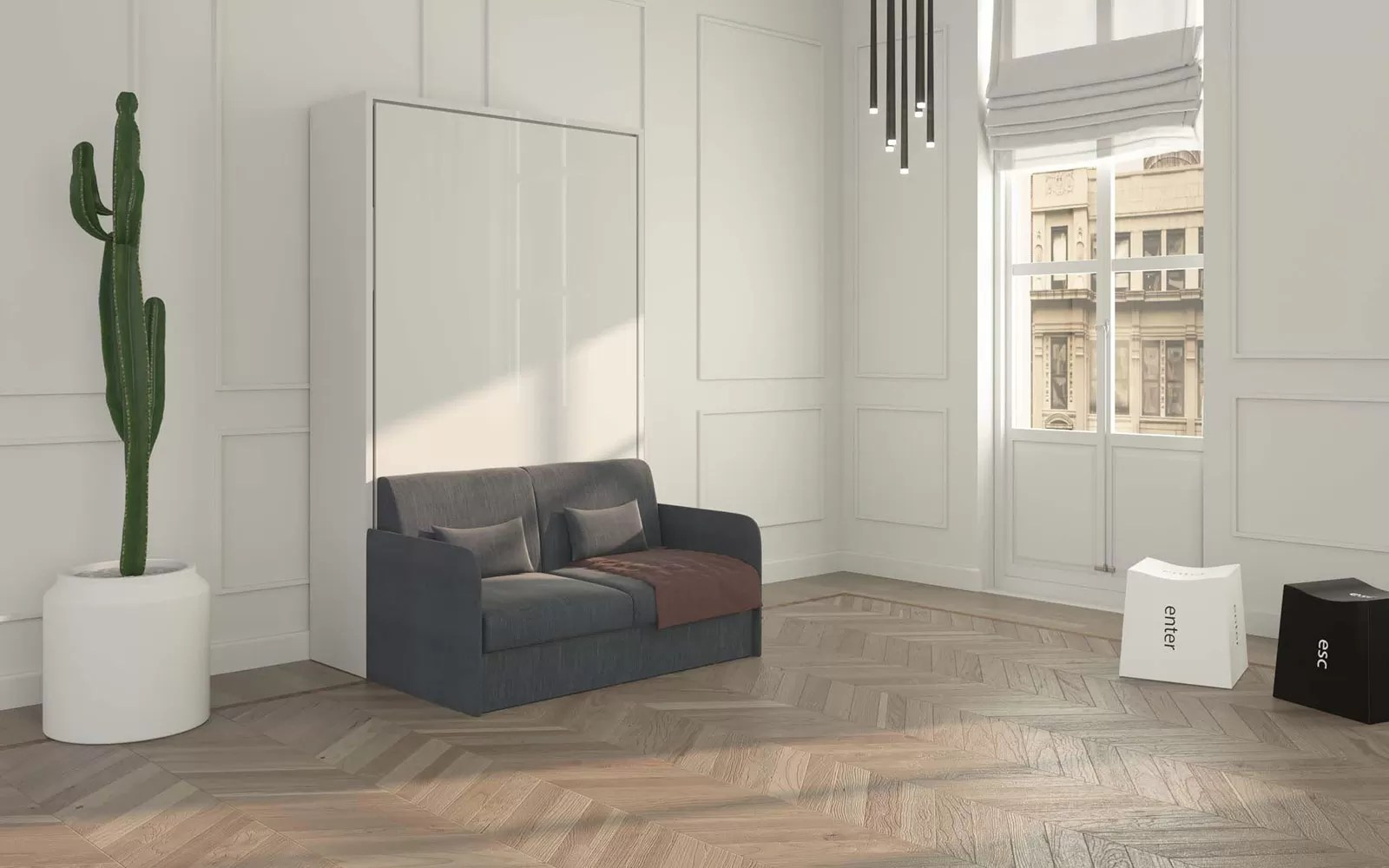 Piuma Sofa 120  Letto a scomparsa piazza e mezzo con divano