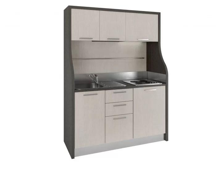 Garfagnana  Mini cucina monoblocco 158cm con piano cottura 4 fuochi e mini frigo sotto top