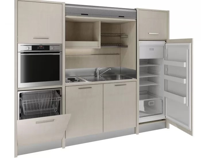Conero SX  Cucina monoblocco a scomparsa 192cm 4 fuochi frigo alto