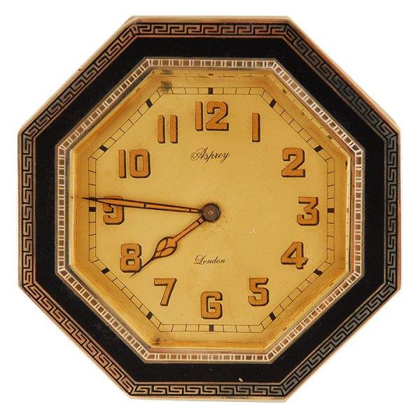 English Octagonal Desk Clock in Silver and Enamel Case by Asprey of London