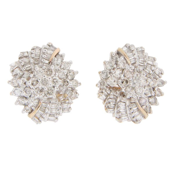 14 Karat Yellow Gold Cluster Diamond Earrings