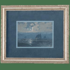 Gouche on Paper Full Moon Sails by Joseph Patrick McMeekin