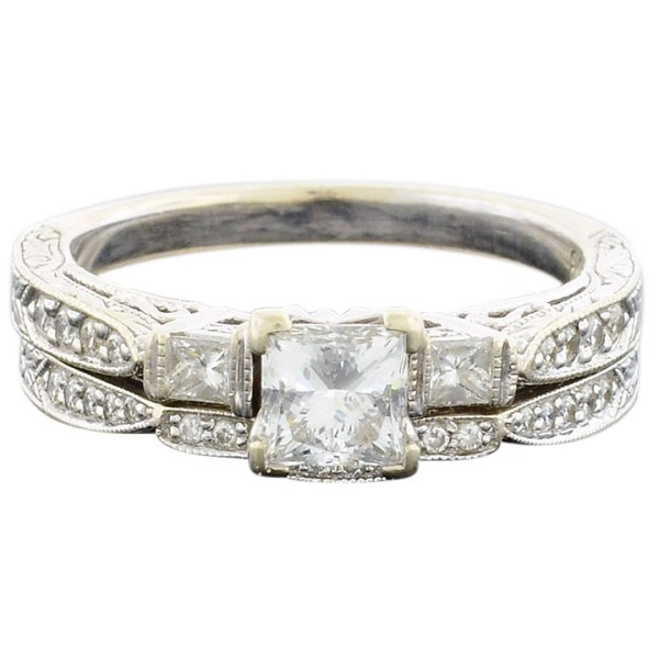 White Gold Bridal Set with 0.85 Carat Center Diamond by C Bernard