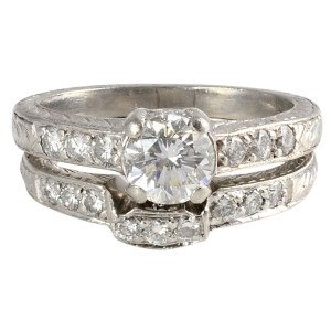1.40 CTW Diamond Platinum Engagement Set