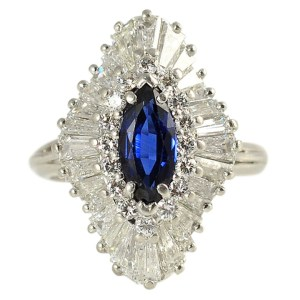 Platinum 4.16 CTW Diamond and Sapphire Ring