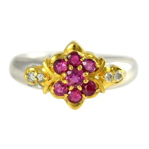Platinum 0.20 CTW Ruby Ring with Diamonds