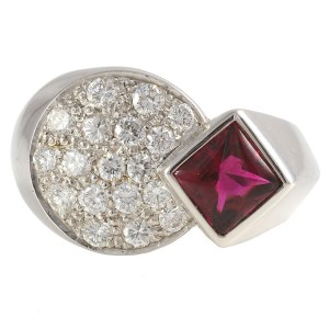 1.15 Carat Rubellite Ring with Diamonds Signed Fred Paris