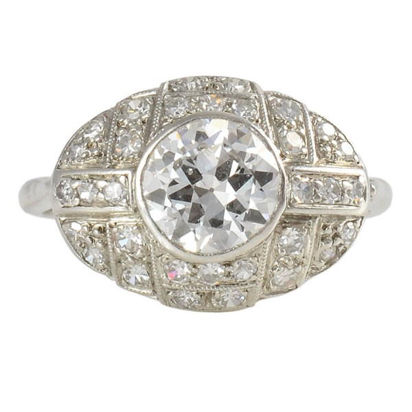 Platinum Art Deco Ring with 1.0 Carat VS2 Center Diamond