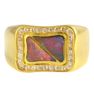 0.70 CTW Diamond and Opal Mens Ring