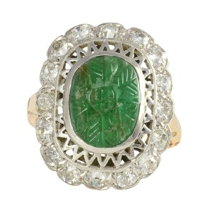 Art Deco Carved Emerald Ring with Diamonds