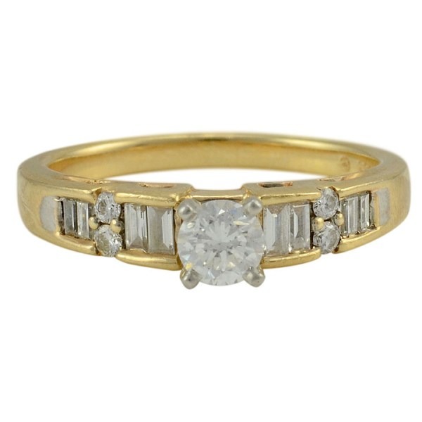 0.30 Carat Center Diamond Two Tone Gold Engagement Ring