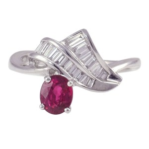 Oval Ruby and Diamond 18K White Gold Ring
