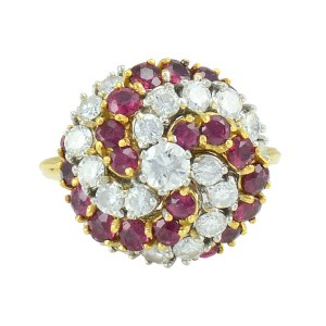 1.55 CTW Diamond and 1.40 CTW Ruby Cocktail Ring