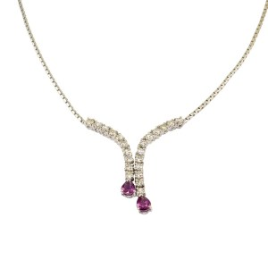 Pear Ruby Diamond 18K White Gold Necklace