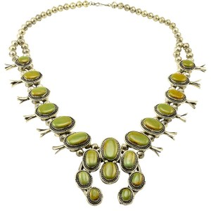 Gerald Mitchell Green Turquoise Squash Blossom Necklace