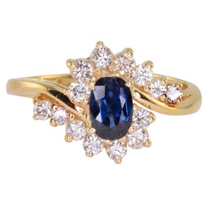 0.50 Carat Oval Sapphire and Diamond Ring