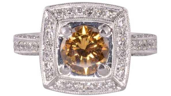 GIA Certified Natural Fancy Center Diamond Ring