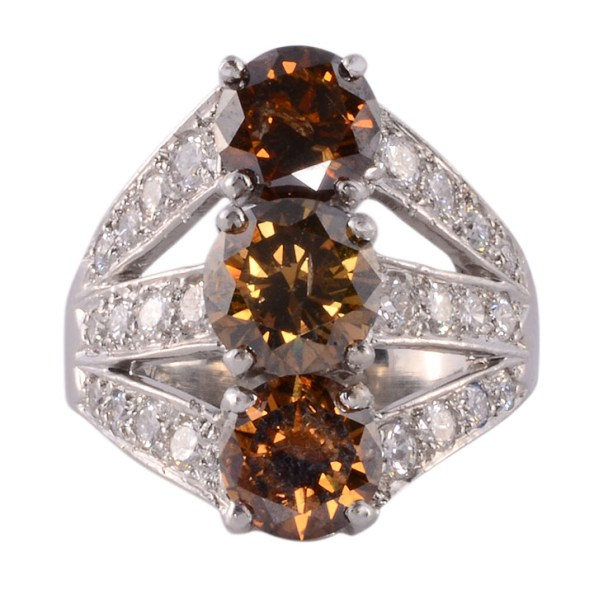 GIA Certified Fancy Colored Three Center Diamond Ring