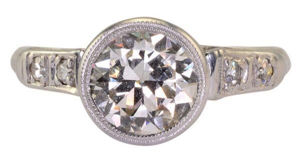 1.25 Carat VS1 Old European Cut Center Diamond Platinum Ring