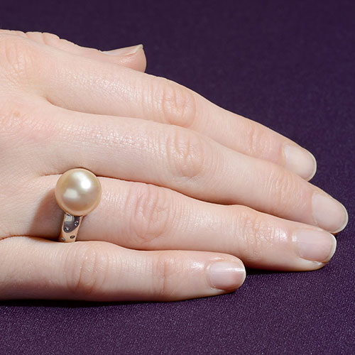 12mm Golden South Seas Pearl & Diamond Ring