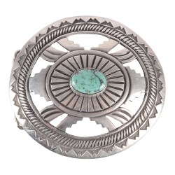 Sterling Silver and Turquoise Navajo Cutout Concho Belt Buckle