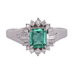 Platinum Center Emerald Cut Emerald and Diamond Ring