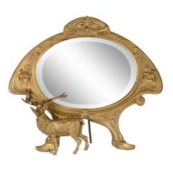 Art Nouveau Gilt Bronze Dressing Mirror