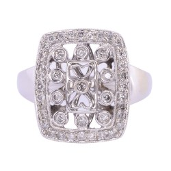 Open Work Diamond White Gold Ring