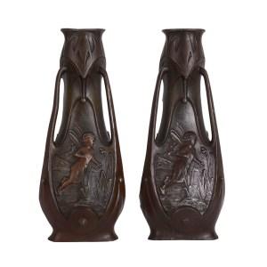 James Garnier Art Nouveau Pair Bronze Winged Fairy Vases
