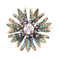 18K Silver Turquoise Diamond Pendant or Pin