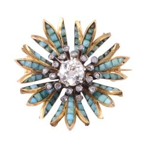 18K Silver Turquoise Diamond Pendant