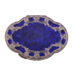 Silver with Blue Enameling Ladies Compact