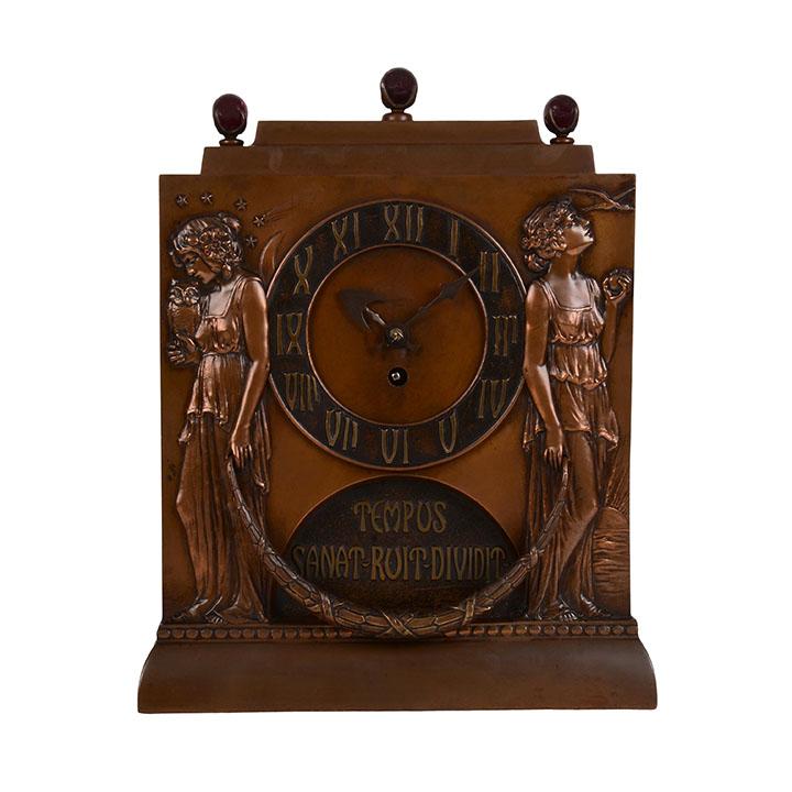 French Art Nouveau Copper Clock