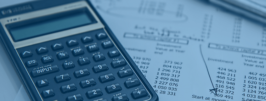 An image of a calculator and budgeting papers for 12 steps to better budgeting blog for Solver CPM