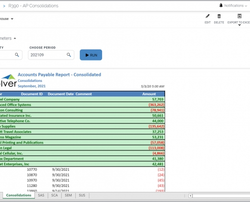 AP payables consolidated transaction vendor report