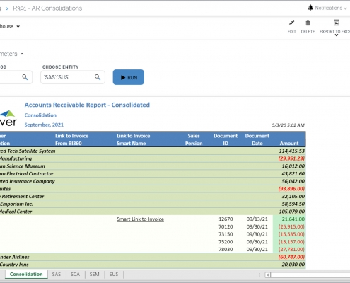 AR receivables consolidated customer report